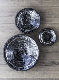 Black And Silver Round Bowl Set