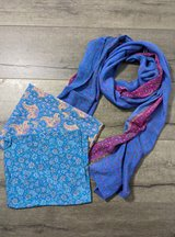 Blue Recycled Sari Scarf