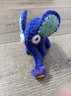 Blue Single Felt Elephant