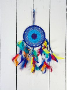 Blue Suede And Cotton Crochet Dreamcatcher