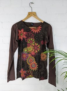 Brown Printed Flower Top