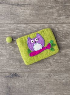 Felt Owl On Branch Purse