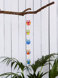 Five Hanging Owls Sun Catcher