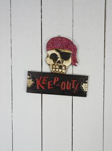 Glitter Pirate Skull KEEP OUT Sign