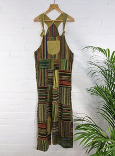 Green Patchwork Cotton Dungarees