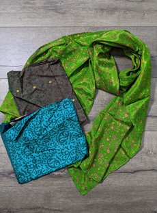 Green Recycled Sari Scarf