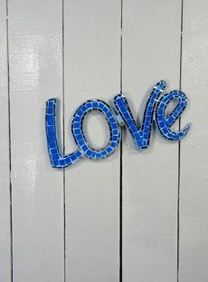 Hanging Blue Mosaic Love Sign