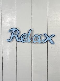 Hanging Blue Mosaic Relax Sign