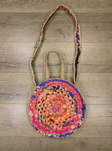 Jute & Cotton Round Shoulder Bag