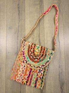 Large Jute And Recycled Cotton Shoulder Bag