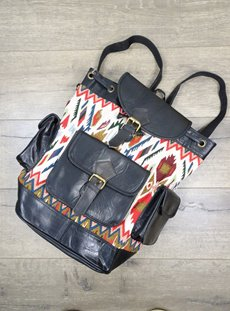 Leather & Cotton Weave Aztec Rucksack