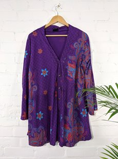 Long Sleeve Purple Button Front Top