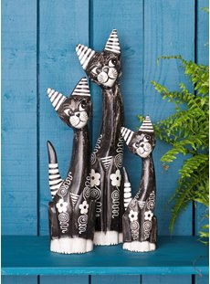 Medium Dark Stripe And Flower Cat Set