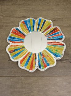 Multi Coloured Flower Mirror
