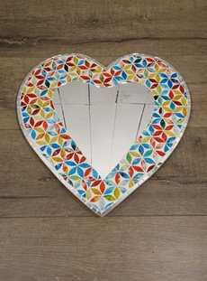 Multi Coloured Heart Mirror