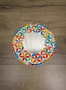Multi Coloured Round Mirror