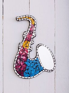 Multi Coloured Saxophone Mirror