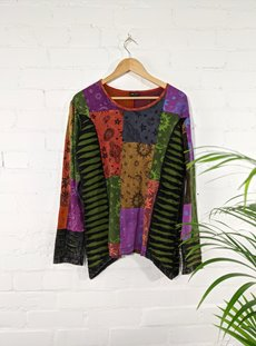Multi Coloured Slash Long Sleeve Top