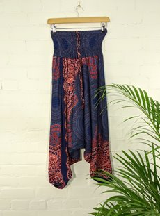 Navy Printed Viscose Trousers