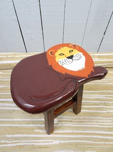 Painted Lion Stool
