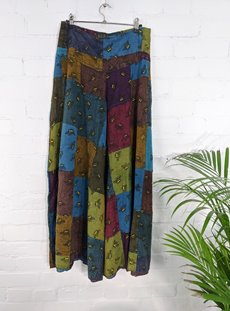 Patchwork Bee Print Wide Leg Trousers