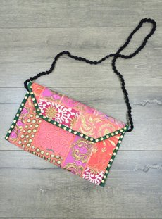 Pink Embroidered Clutch Bag