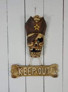 Pirate Skull KEEP OUT Sign