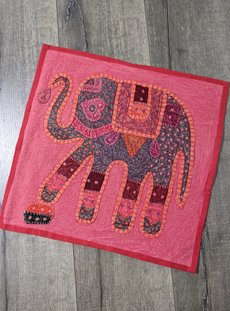 Red Overdyed Elephant Cushion