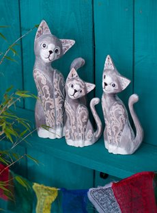 Set Of Three White Grey Cats With Curly Tail