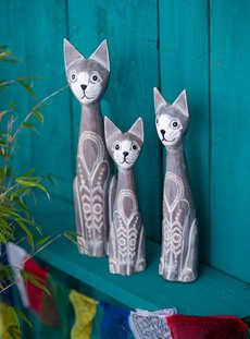 Set Of Three White Grey Cats