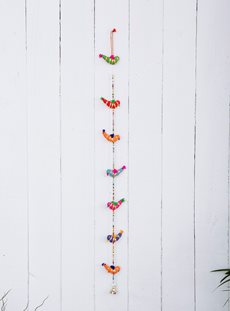 Seven Fabric Birds on a String