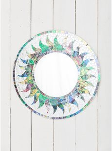 Small Green Shimmery Mosaic Sun Mirror
