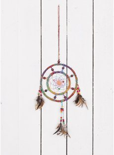Small Hemp Circle Rainbow Dreamcatcher