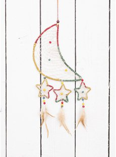 Star And Moon Hemp Rainbow Dreamcatcher