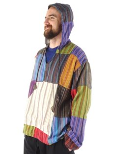 Striped Patchwork Hoodie