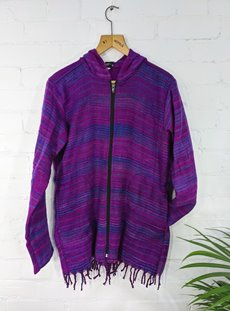 Super Soft Purple Stripe Zip Hoodie