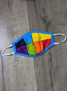 Turquoise And Rainbow Panel Facemask