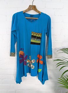 Turquoise Long Sleeve Flower Top