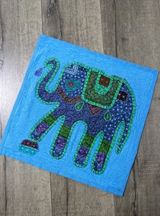 Turquoise Overdyed Elephant Cushion