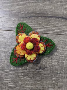 Yellow Flower And Leaf Brooch